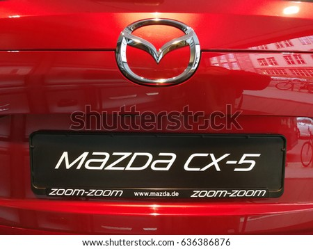 Berlin, Germany - May 8, 2017: Mazda CX-5 crossover SUV. The second generation of CX-5 was unveiled with an overhauled design and new tech on November 2016