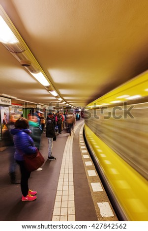 Berlin, Germany - May 15, 2016: metro station in Berlin with unidentified people. The metro in Berlin opened 1902 and has today 173 stations and a length of 146 km