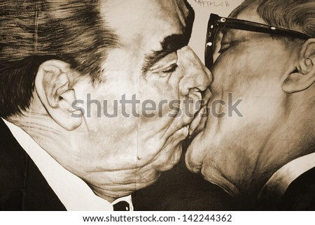 BERLIN GERMANY MAY 22: Mural paint by Russian artist Dmitri Vrubel of former Soviet leader Leonid Brezhnev kissing his East German counterpart Erich Honecker on may 22 2010 in Berlin Germany