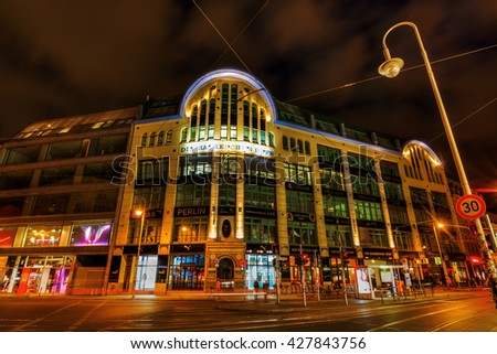 Berlin, Germany - May 16, 2016: night view of Hackesche Hoefe at Hackescher Markt. It is a notable courtyard complex, designed in Art Nouveau style by August Endel - stock photo