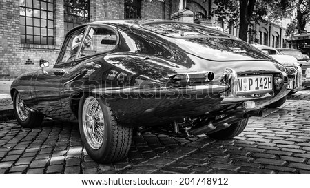 BERLIN, GERMANY - MAY 17, 2014: Sports car Jaguar E-Type 4.2. Rear view. Black and white. 27th Oldtimer Day Berlin - Brandenburg  - stock photo