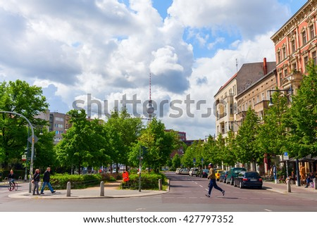 Berlin, Germany - May 15, 2016: street view at Prenzlauer Berg with unidentified people. Since 1920 Prenzlauer Berg was a Berlin district. 2001 it was incorporated into the district of Pankow - stock photo