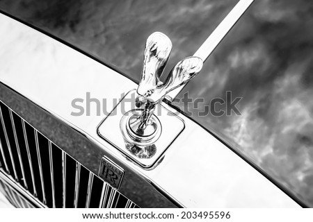"BERLIN, GERMANY - MAY 17, 2014: The famous emblem ""Spirit of Ecstasy"" on the Rolls-Royce Silver Spirit. Black and white. 27th Oldtimer Day Berlin - Brandenburg - stock photo"