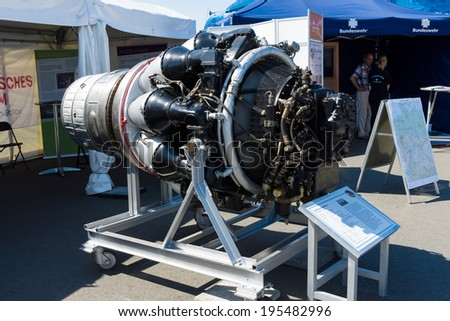 BERLIN, GERMANY - MAY 21, 2014: The first Soviet turbojet Klimov VK-1 (RD-45). Created based on the British jet engine Rolls-Royce Nene. Exhibition ILA Berlin Air Show 2014
