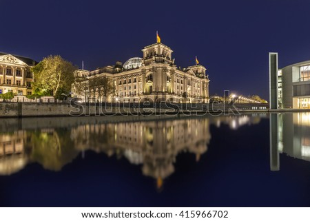 BERLIN, GERMANY - MAY 2, 2015. The german chancellery building in the government district in Berlin at night. The Paul Loebe House (right) and the Reichstag (left) and night.