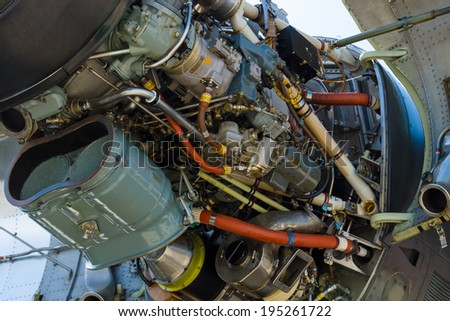 BERLIN, GERMANY - MAY 21, 2014: Turboprop engine Rolls-Royce Tyne Rty.20 Mk 22 (close-up) of a aircraft Transall C-160. German Air Force. Exhibition ILA Berlin Air Show 2014