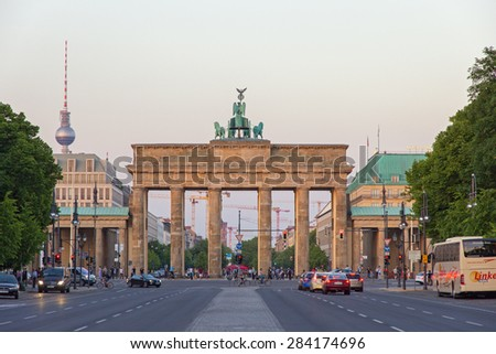 BERLIN, GERMANY - MAY 22, 2014: View on the Brandenburg Gate from in Berlin, Germany. It's an 18th-century neoclassical triumphal arch in Berlin, one of the best-known landmarks of Germany. - stock photo