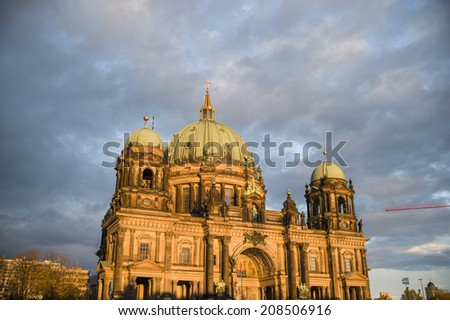 BERLIN, GERMANY - NOV 5: Berlin Cathedral (Berliner Dom) is a famous landmark on the Museum Island in Mitte district of Berlin, Germany on November 5 2013. It was built between 1895 and 1905.