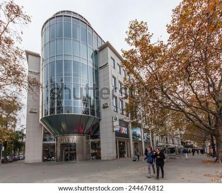 BERLIN, GERMANY - NOVEMBER 12, 2014: BMW showroom building at Kurfuerstendamm in Berlin, Germany on November 12, 2014.  - stock photo