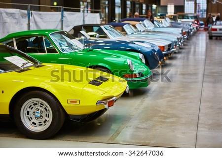 Berlin, Germany - November 15, 2015: museum of vintage cars - stock photo