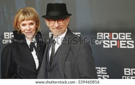 "BERLIN, GERMANY - NOVEMBER 13: Steven Spielberg with his wife Kate Capshaw attend German premiere of ""Bridge of Spies"" in ZOO Palast cinema on November 13, 2015 in Berlin, Germany - stock photo"