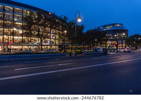 BERLIN, GERMANY - NOVEMBER 12, 2014: The shopping street Kurfuerstendamm over night illumination in Berlin, Germany on November 12, 2014.  - stock photo