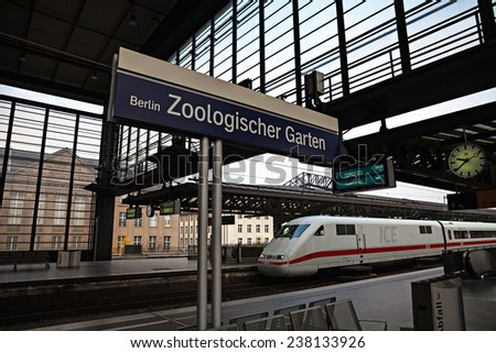 BERLIN, GERMANY - NOVEMBER 13, 2014 : Train in  Berlin Zoologischer Garten (Bahnhof ZOO) railway station. Zoo was the main train station in West Berlin during the Cold War.