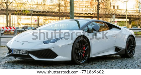 Berlin, Germany   November, 2017: White Lamborghini Huracan Spyder Supercar  With Black Alloy