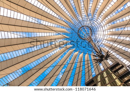 BERLIN, GERMANY - OCT 26: The Sony Centre in Potsdamer Platz on October 26th , 2009 in Berlin, Germany. Sony sold the Center for less than �600M to a group of German and US investment funds houses. - stock photo