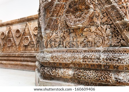BERLIN, GERMANY - OCTOBER 16: hall of Mshatta Facade of Pergamon museum in Berlin, Germany on October 16, 2013. Museum the most visited in Berlin it hosts more than 1.5million visitors per year