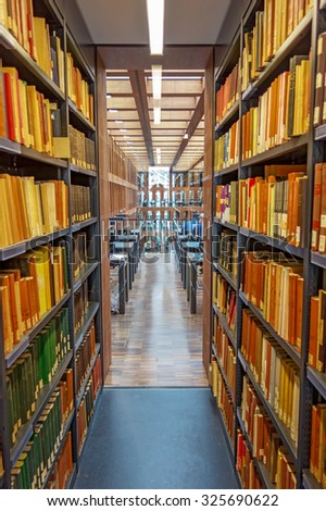 Berlin, Germany - October 26, 2013: Humboldt University Library in Berlin. It is one of the most advanced scientific libraries in Germany. - stock photo