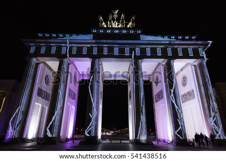 BERLIN, GERMANY - OCTOBER 12, 2016: One of the Video mapping projections projected at the Brandenburg Tor (Brandenburg gate) in Berlin during the 12th Festival of Lights, Germany.