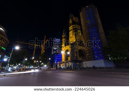 BERLIN, GERMANY - OCTOBER 17, 2014: The famous landmark of West Berlin, Kaiser Wilhelm Memorial Church in the night lights
