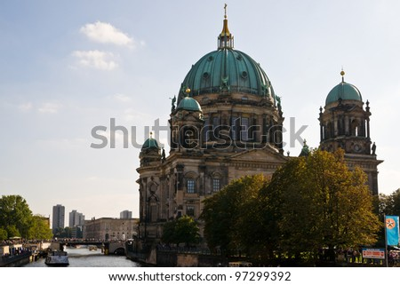 BERLIN, GERMANY - SEPTEMBER 24: The baroque style Berlin Cathedral on Sept. 24, 2011 in Berlin, Germany. The cathedral is used for official  divine services at state visits and political events.