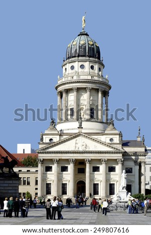 Berlin, Germany - September 22, 2007: Tourists in front of the French Cathedral on Gendarmes Market in Berlin.