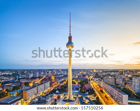 Berlin, Germany view of  TV Tower. - stock photo