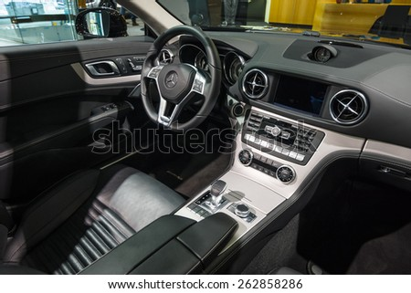 BERLIN - JANUARY 24, 2015: Showroom. Cabin of a sports car Mercedes-Benz SL500 (R231). Produced since 2012.
