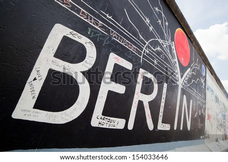 BERLIN, July 26: Graffiti at the East Side Gallery on July 26, 2013 in Berlin,Germany. It documents a time of change and hopes for a better future. Removing some sections now stirs up controversy - stock photo