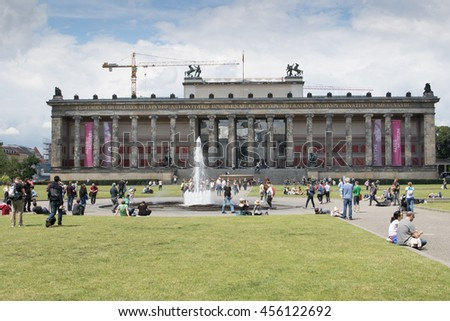 BERLIN - JUNE 18: Altes Museum (Old Museum) located on Museum Island, a UNESCO-designated World Heritage Site on Berlin, Germany on June 18, 2016. - stock photo