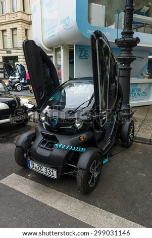 BERLIN - JUNE 14, 2015: Electric car two-passenger electric vehicle Renault Twizy Z.E. The Classic Days on Kurfuerstendamm. - stock photo