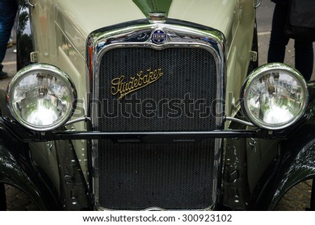 BERLIN - JUNE 14, 2015: Fragment of Erskine (Studebaker) Model 51 Sedan, 1928. The Classic Days on Kurfuerstendamm. - stock photo
