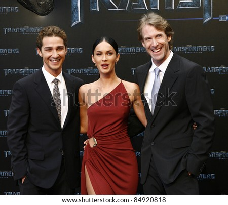BERLIN - JUNE 14: Shia LaBeouf, Megan Fox and Michael Bay attend the German premiere of 'Transformers: Revenge Of The Fallen' at the Sony Center CineStar on June 14, 2009 in Berlin, Germany. - stock photo