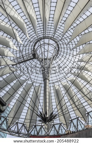 BERLIN - JUNE 16, 2014: Sony Center (2000) - Sony-sponsored complex located at Potsdamer Platz. Sony Center contains mix of shops, restaurants, hotel, IMAX Theater, offices, art and film museums.Roof.
