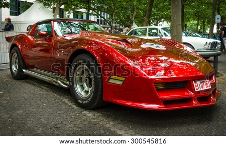 BERLIN - JUNE 14, 2015: Sports car Chevrolet Corvette C3 Stingray coupe. The Classic Days on Kurfuerstendamm. - stock photo