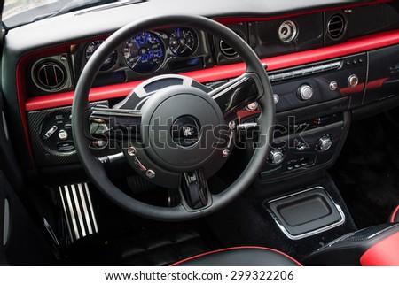BERLIN - JUNE 14, 2015: The cockpit of the luxury car Rolls-Royce Phantom Drophead Coupe (since 2007). The Classic Days on Kurfuerstendamm. - stock photo