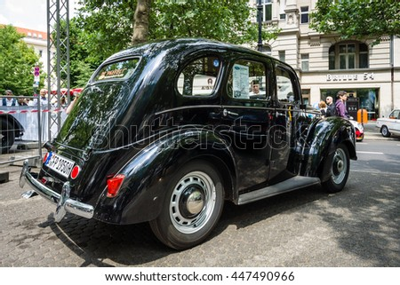 BERLIN - JUNE 05, 2016: Vintage car Ford Prefect (E493A), a British cars which was produced by Ford UK. Rear view. Classic Days Berlin 2016.
