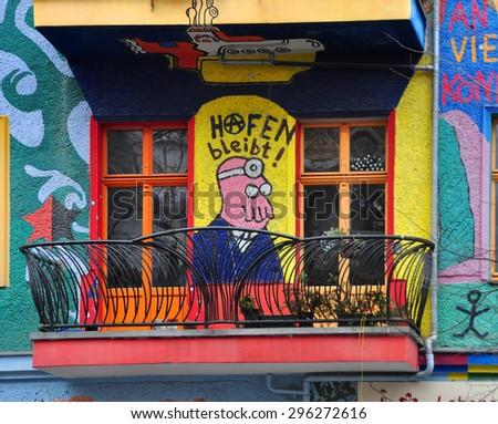 BERLIN, MARCH 6: Graffiti House in Easten Berlin (Berlin is the most popular city among graffiti artists) on March 6, 2015 in Berlin. - stock photo