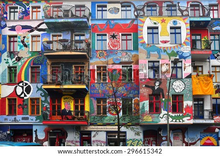 BERLIN, MARCH 6: Graffiti House in Easten Berlin (Berlin is the most popular city among graffiti artists) on March 6, 2015 in Berlin. - stock photo