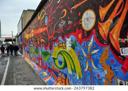 BERLIN â?? MARCH 6: The part of Berlin Wall. Berlin Wall (German: Berliner Mauer) was a barrier that divided Berlin from 1961 to 1989 March 6, 2015 in Berlin. - stock photo
