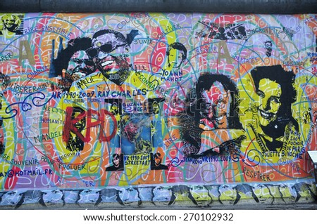 BERLIN MARCH 6: The part of Berlin Wall (East Side Gallery). Berlin Wall (German: Berliner Mauer) was a barrier that divided Berlin from 1961 to 1989 March 6, 2015 in Berlin. - stock photo
