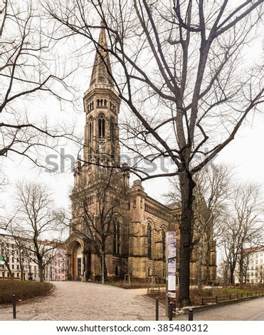 "BERLIN, MARCH 02: The ""Zionskirche"" (German for Zion Church) in Prenzlauerberg, Berlin on March 02, 2016."