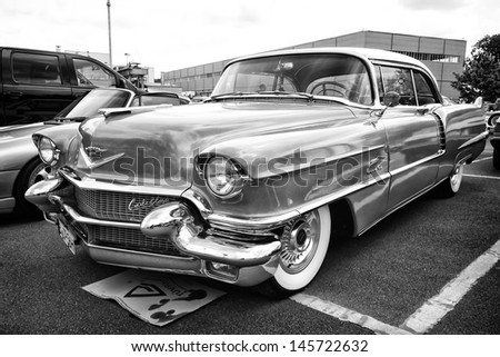 BERLIN - MAY 11: Car Cadillac Series 62 Coupe de Ville, 1950 (black and white), 26th Oldtimer-Tage Berlin-Brandenburg, May 11, 2013 Berlin, Germany - stock photo