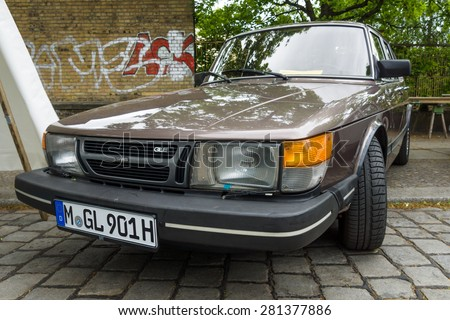 BERLIN - MAY 10, 2015: Compact executive car Saab 900 GLE, 1983. The 28th Berlin-Brandenburg Oldtimer Day - stock photo