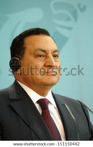 BERLIN - MAY 10: Egyptian President Hosni Mubarak  during a meeting with the German Chancellor in the German Chanclery in Berlin, MAY 10, 2006. - stock photo