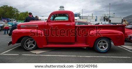 BERLIN - MAY 10, 2015: Full-size pickup truck Ford F1 (Ford Bonus-Built), 1948. The 28th Berlin-Brandenburg Oldtimer Day - stock photo