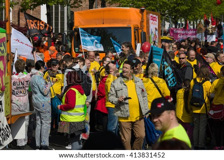 BERLIN - MAY 01, 2016: Members of trade unions, workers and employees at the demonstration on the occasion of Labour day. - stock photo