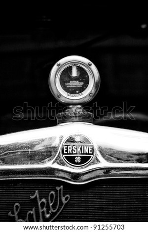 "BERLIN - MAY 28: Radiator (engine cooling) and the emblem of the car Erskine (Studebaker), the exhibition ""125 car history - 125 years of history Kurfurstendamm"", May 28, 2011 in Berlin, Germany"