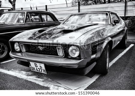 BERLIN - MAY 11: Sport Car Ford Mustang Mach I, front view (black and white), 26. Oldtimer-Tage Berlin-Brandenburg, May 11, 2013 Berlin, Germany - stock photo