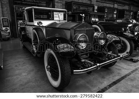 BERLIN - MAY 10, 2015: Vintage car Rolls-Royce Phantom I, 1927. Black and white. The 28th Berlin-Brandenburg Oldtimer Day - stock photo
