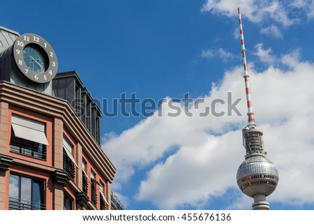 berlin mitte - tv tower, building exterior , clock and blue sky